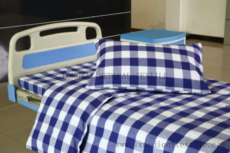 Pure Cotton Blue White Check Hospital Bed Linen Set