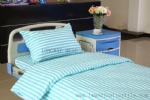 blue white stripe polyester cotton hospital bed linen